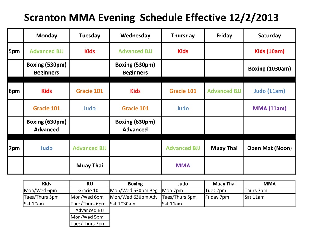 New Scranton MMA Schedule